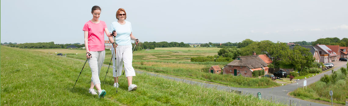 Norddeich bietet sich an zum Nordic Walking und Radwandern